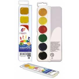 Краска акварельная медовая ЛУЧ Классика  6цв. пластик упаковка без кисточки