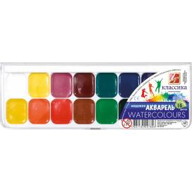 Краска акварельная медовая ЛУЧ Классика 16цв. пластик упаковка без кисточки
