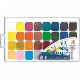 Краска акварельная медовая ЛУЧ Классика 32цв пластик упаковка без кисточки
