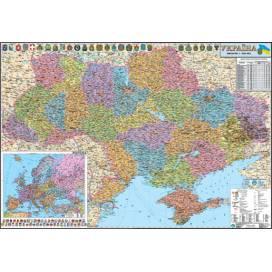 Карта ИПТ Украины полит. 1: 850 000 (110*160) картон/планки ШК....0253