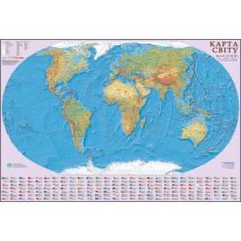 Карта ИПТ Мира физика 1:22 000 000 (110*160) картон/планки