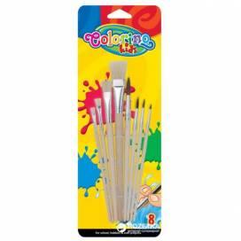 Набір пензликів Colorino 8шт шкільні 39000 для малювання на папері, полотні