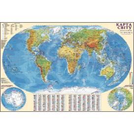 Карта ИПТ Мира физика 1:32 000 000 (80*110) картон/планки ШК....2141