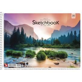 Альбом для малювання Школярик А4 30л щільність 120г/м2 спіраль PB-SC-030  картинки різні