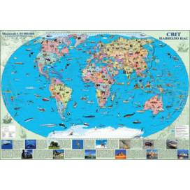 Карта ИПТ Мира Світ навколо нас 1:35 000 000 (80*110) картон/планки ШК....4374