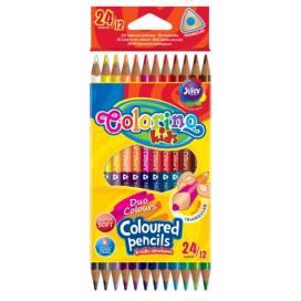 Кольорові олівці Colorino для малювання 12шт 24цв (двосторонні) тригранні 33046PTR