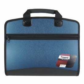 Портфель пластик Axent 1621-12 4 отд на молнии  синий металлик