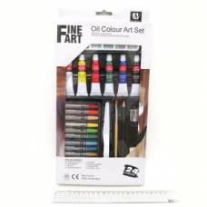 Набор масляных красок Artists 6цв 12мл NAO1224+краска+каранд.+кисти+шпатель+ластик+точилк.