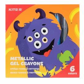 Кольорові олівці для малювання в школі, дитячому садку гель 6цв Kite K19-095-6 з глітером