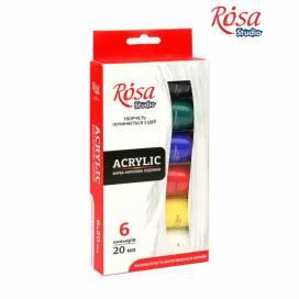 Набор акриловых красок для творчества Rosa Studio 6 цветов 20 мл