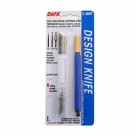 Нож макетный Dafa пластик. ручка, 8 сменных лезвий + 4 насадки C-604P