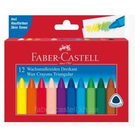 Цветные карандаши для рисования в школе, детском садике восковой Faber 12цв треуг 120010