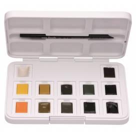 Набор акварельных красок Royal Talens VAN GOGH 12цв кюветы +кисть, пластик Pocket box SHADES OF NATU