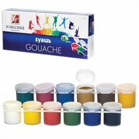 Набор гуашевых красок для школы, садика, детского творчества Луч 12цв. 20мл классика блок-тара