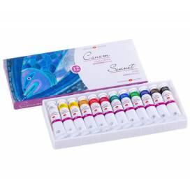 Набор фарб акрилових ЗХК Сонет 12 кольорів 18 мл в полимерном коррексе в карт кор.
