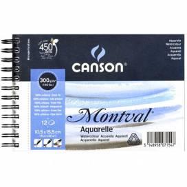 Альбом для акварелі Canson Montval 300г/м 10,5*15см 12 аркушів спіраль
