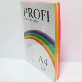 Бумага цв  А4/80 MIX 250л PROFI (неон) 5 цв