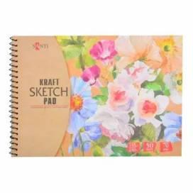 """Альбом для ескізів Santi """"Kraft sketch pad"""" 70 г/м2 А5 50л крафт папір 742611"""
