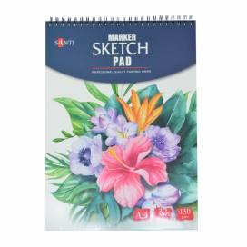 "Альбом для маркерів Santi ""Marker sketch pad"" 130 г/м2 А4 32л спіраль 742612"