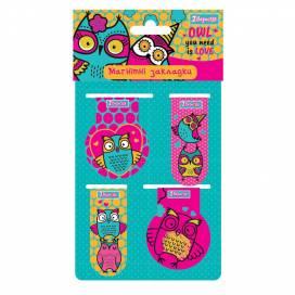 Закладки 1Вересня магнитные 707389 Owl 4 шт