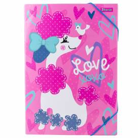 Папка 1 Вересня для труда картон с резинкой 491891 Love XOXO