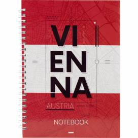 Блокнот Axent 8032-07 формат А5 клетка 96листов боковая спираль твёрдый переплёт переплёт Vienna (записная книжка)