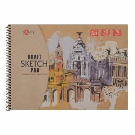 """Альбом для ескізів Santi """"Kraft sketch pad"""" 70 г/м2 А4 50л крафт папір 742752"""