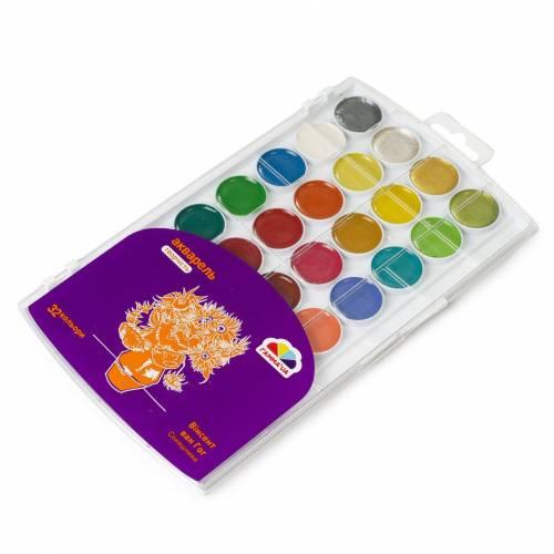 Краска акварельная Гамма Укр 28+4цв Творчество без кисточки NEW 400114 4 ряда красок