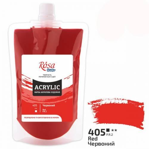 Краска акриловая для живописи и декора Rosa Studio 200мл в мягкой упаковке 405 Красная