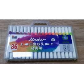 Набор маркеров Aihao 36цв PM515-36 трёгранные художественные двухсторонние спиртовые для скетчинга