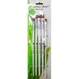 Набір пензликів DK нейлон 5шт 2688F прямі пластик ручка 101591 Royal-Art для малювання на папері, полотні