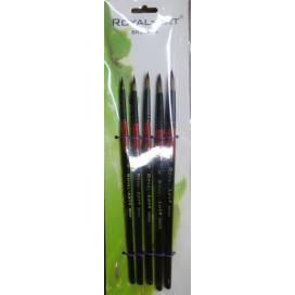Набір пензликів DK нейлон 5шт 385 круглий 100778 Royal-Art для малювання на папері, полотні