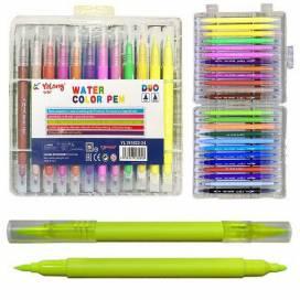 Набор маркеров DK  18 цветов двухсторонние в пластиковой упаковке кистевидные (брашевые) 191822-18