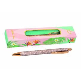 Ручка подарочная TM Wilhelm Buro WB 164 кнопочная с глиттером розовое золото, упаковка картон