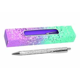Ручка подарочная TM Wilhelm Buro WB 165 кнопочная с глиттером серебро, упаковка картон
