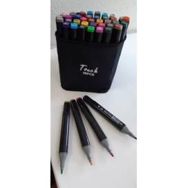 Набор маркеров SAT (Touch) 36 цветов двухсторонние в сумочке 223-36