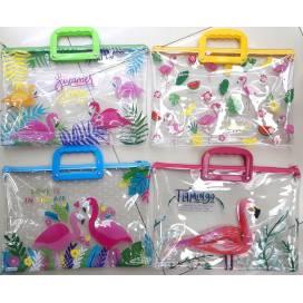 Портфель DK с ручками на молнии 3875 Фламинго 40х22,5х3 см прозрачный