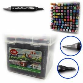 Набор маркеров DK 100 цветов двухсторонние в пластиковом пенале(0229) 777-100