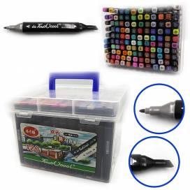 Набор маркеров DK 120 цветов двухсторонние в пластиковом пенале(0229) 777-120